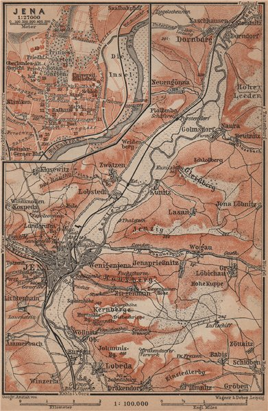 Associate Product JENA & environs/umgebung. Dornburg. Thuringia karte. BAEDEKER 1900 old map