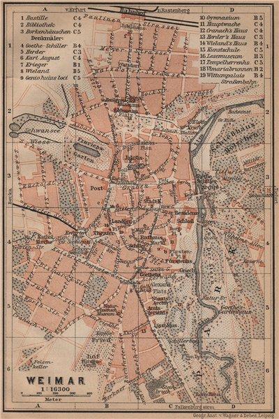 Associate Product WEIMAR antique town city stadtplan. Thuringia karte. BAEDEKER 1900 old map