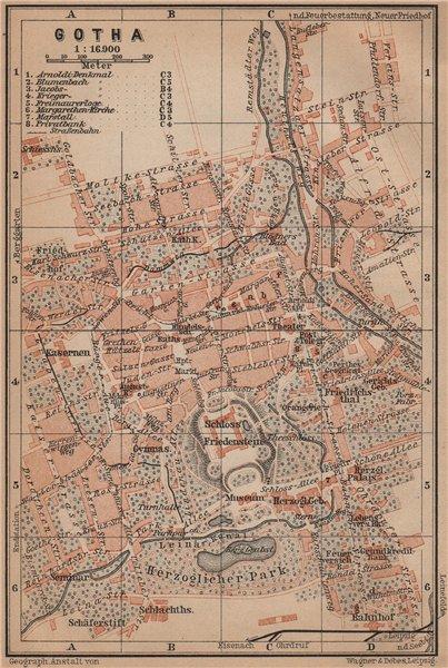 Associate Product GOTHA town city stadtplan. Thuringia. Schloss Friedenstein karte 1900 old map