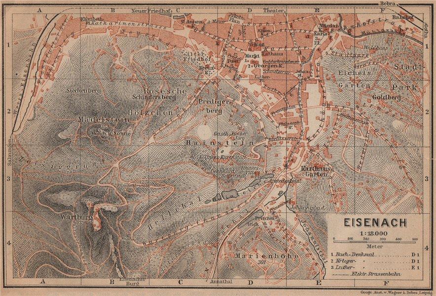 EISENACH antique town city stadtplan. Thuringia. Wartburg karte 1900 old map
