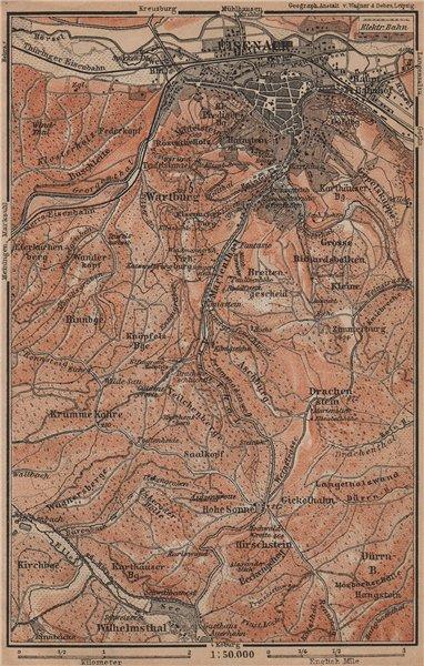 Associate Product EISENACH & environs/umgebung. Wartburg. Thuringia karte. BAEDEKER 1900 old map