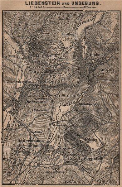 Associate Product LIEBENSTEIN & environs/umgebung. Altenstein. Thurinigia karte. SMALL 1900 map