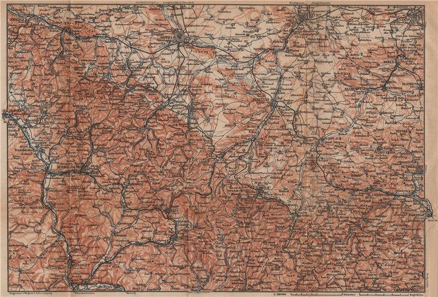Associate Product THÜRINGER WALD. Thuringian Forest. Gotha Eisenach Erfurt Weimar karte 1900 map