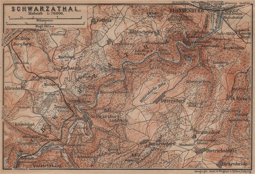 Associate Product BLANKENBURG & environs/umgebung. Schwarzatal. Thuringia karte 1900 old map