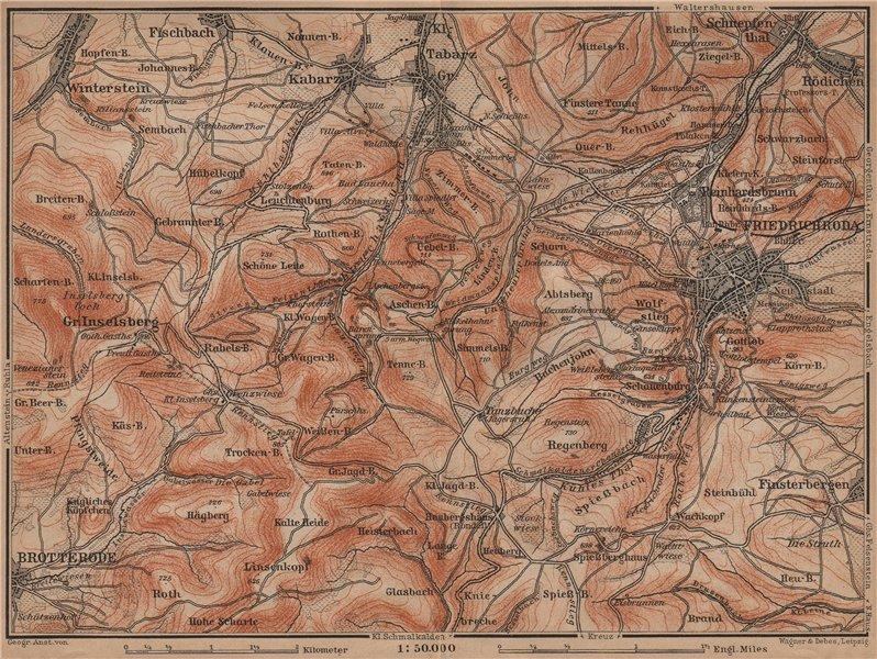Associate Product FRIEDRICHRODA & Thüringer Wald. Brotterode Großer Inselsberg Thuringia 1900 map