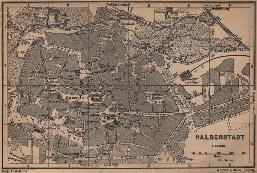 Associate Product HALBERSTADT antique town city stadtplan. Saxony-Anhalt karte. BAEDEKER 1900 map