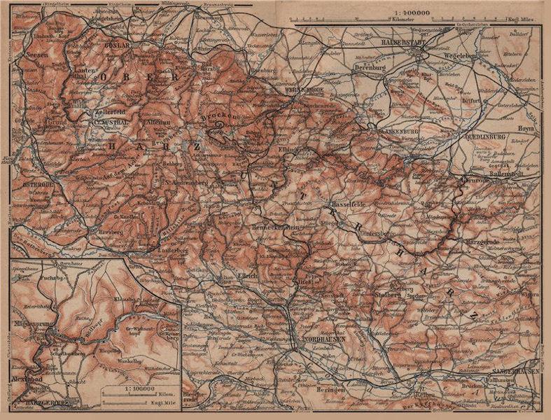 Associate Product HARZ MOUNTAINS topo-map. Inset Bodetal. Halberstadt Nordhausen karte 1900