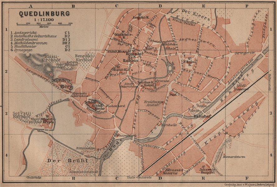 Associate Product QUEDLINBURG antique town city stadtplan. Germany karte. BAEDEKER 1900 old map