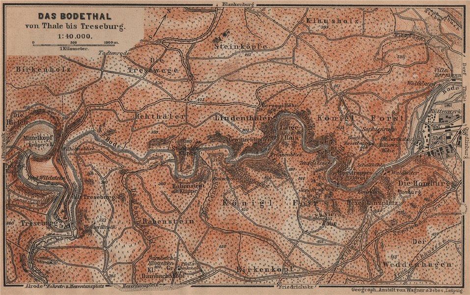 Associate Product DAS BODETHAL von Thale bis Treseburg. Bode Gorge topo-map. Harz karte 1900