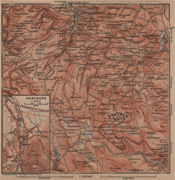 Associate Product BAD HARZBURG town city stadtplan & umgebung. HARZ MOUNTAINS. Brocken 1900 map