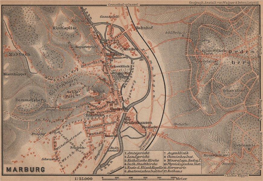 Associate Product MARBURG antique town city stadtplan. Hessen karte. BAEDEKER 1900 old map