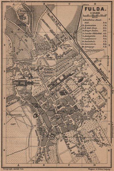 Associate Product FULDA antique town city stadtplan. Hessen karte. BAEDEKER 1900 old map