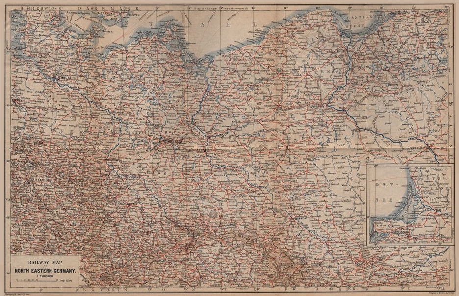 Associate Product NORTH EAST GERMANY Railways. Nordosten Deutschland eisenbahnen karte 1900 map