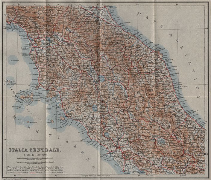 Associate Product CENTRAL ITALY. ITALIA CENTRALE mappa. BAEDEKER 1909 old antique plan chart