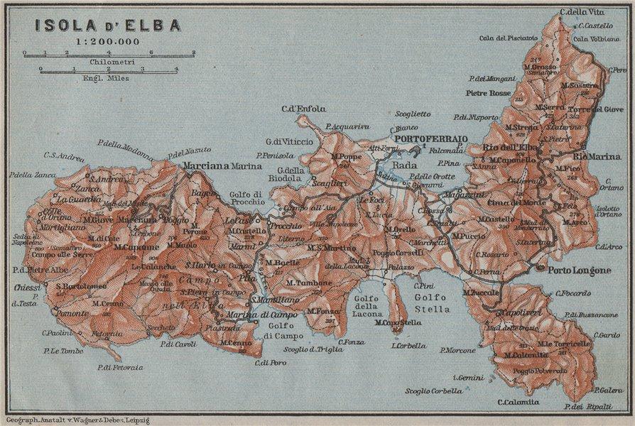 Associate Product ISOLA D'ELBA topo-map. Portoferraio. Italy mappa. BAEDEKER 1909 old