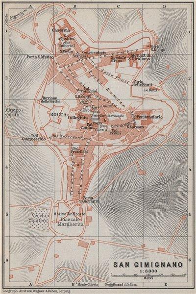 Associate Product SAN GIMIGNANO antique town city plan piano urbanistico. Italy mappa 1909