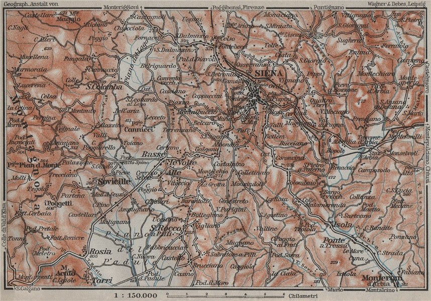 Associate Product SIENA environs. Italy mappa. BAEDEKER 1909 old antique vintage plan chart