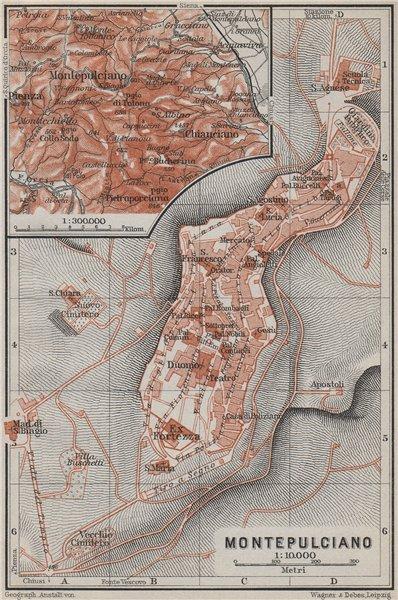 Associate Product MONTEPULCIANO town city plan piano urbanistico & environs. Italy mappa 1909