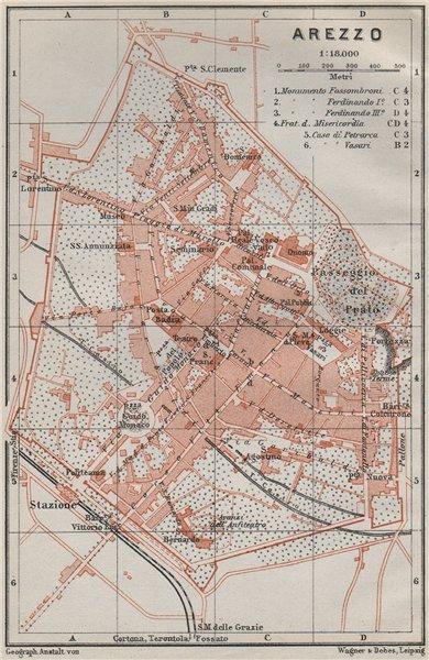 Associate Product AREZZO antique town city plan piano urbanistico. Italy mappa. BAEDEKER 1909