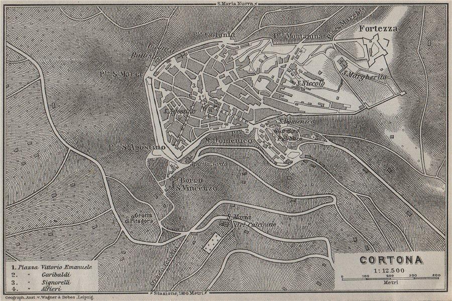 Associate Product CORTONA antique town city plan piano urbanistico. Italy mappa 1909 old