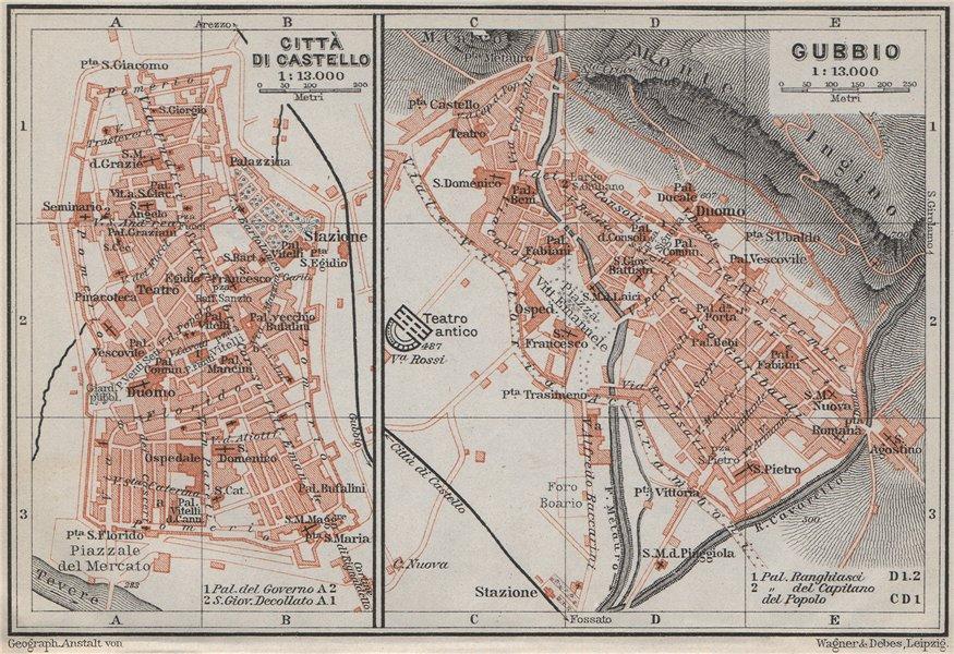 Associate Product CITTÀ DI CASTELLO & GUBBIO antique town city plans. Italy. Citta mappa 1909