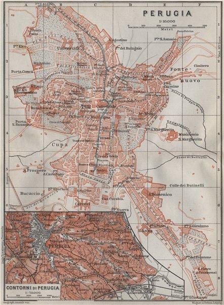 PERUGIA town city plan piano urbanistico & environs/contorni. Italy 1909 map