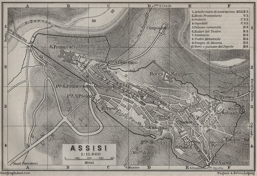 Associate Product ASSISI antique town city plan piano urbanistico. Italy mappa. BAEDEKER 1909