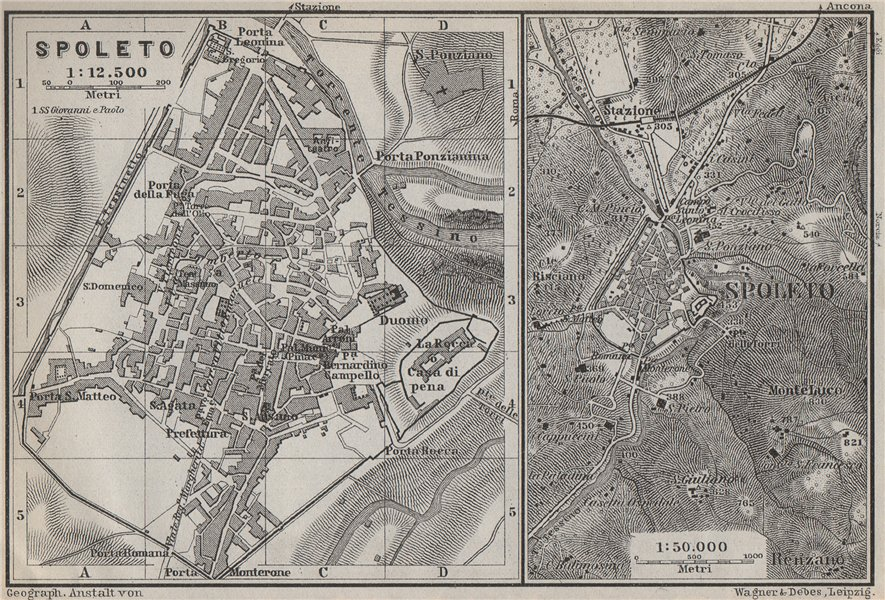 Associate Product SPOLETO town city plan piano urbanistico & environs. Italy mappa 1909 old