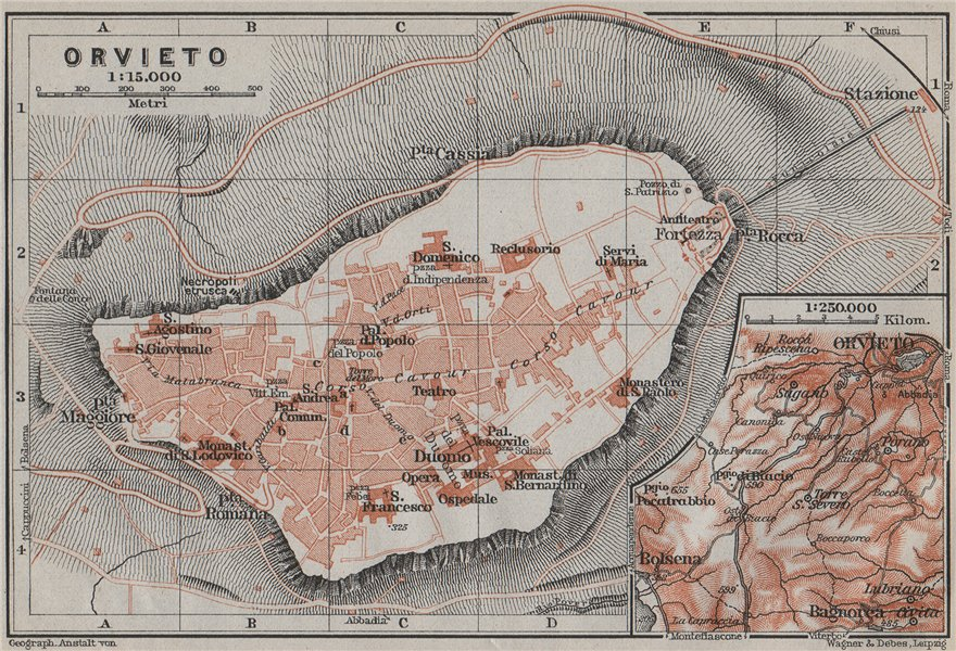 Associate Product ORVIETO antique town city plan piano urbanistico. Italy mappa 1909 old