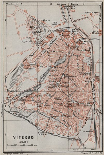 Associate Product VITERBO antique town city plan piano urbanistico. Italy mappa 1909 old