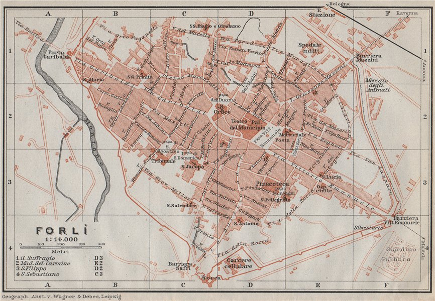 Associate Product FORLI FORLÌ antique town city plan piano urbanistico. Italy mappa 1909 old