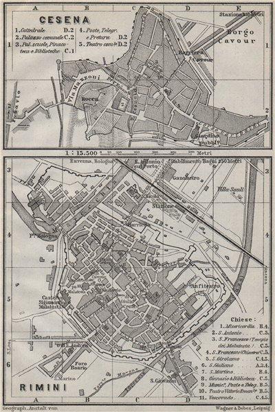 CESENA & RIMINI antique town city plan piano urbanisticos. Italy mappa 1909