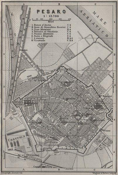 Associate Product PESARO antique town city plan piano urbanistico. Italy mappa. BAEDEKER 1909