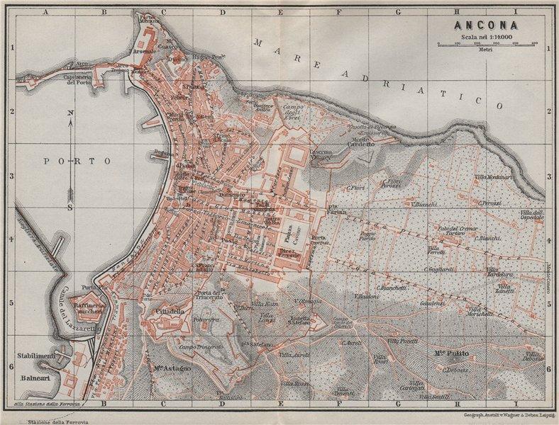 Associate Product ANCONA antique town city plan piano urbanistico. Italy mappa. BAEDEKER 1909
