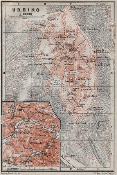Associate Product URBINO town city plan piano urbanistico & environs. Italy mappa 1909 old