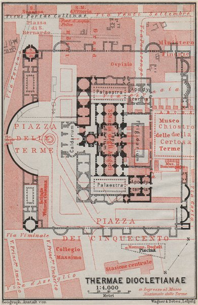 Associate Product BATHS OF DIOCLETIAN. THERMAE DIOCLETIANAE floor plan. Rome mappa 1909 old