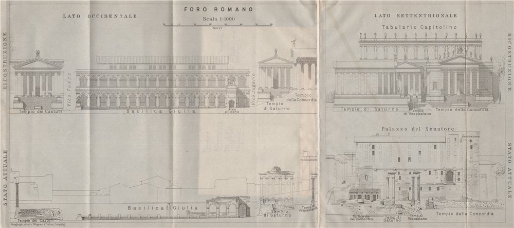 Associate Product FORUM ROMANUM. S & W sides. Former & present condition. Rome mappa 1909