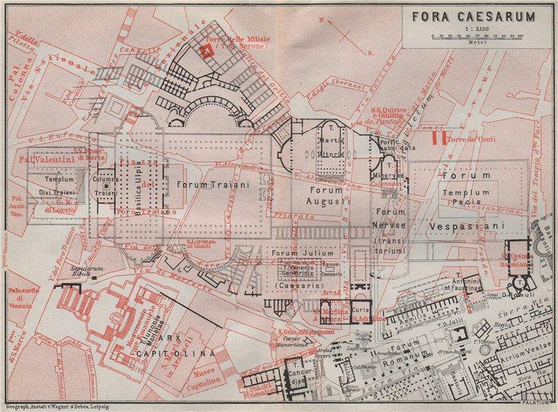Associate Product FORUM OF CAESAR Fora Caesarum Iulium Julium Caesaris ground plan. Rome 1909 map