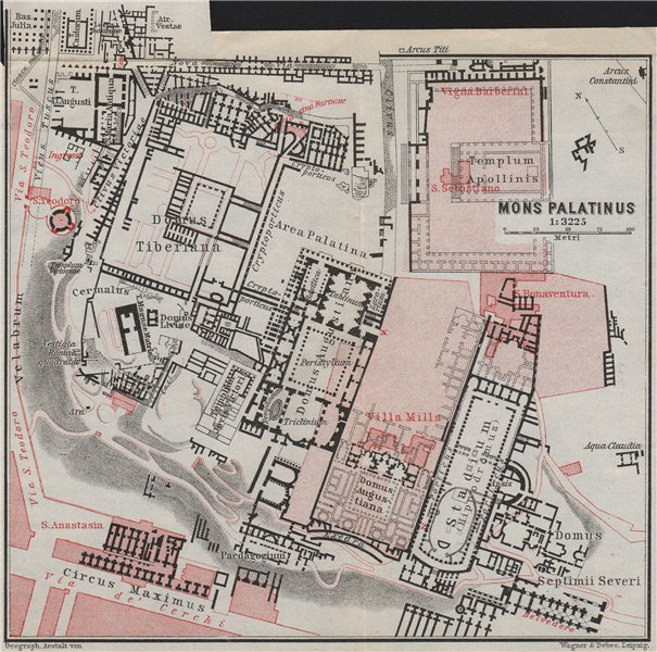 Associate Product THE PALATINE HILL. MONS PALATINUS ground plan. Rome mappa. BAEDEKER 1909