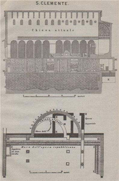 Associate Product Basilica di SAN CLEMENTE al Laterano. Saint Clement. Rome mappa 1909 old