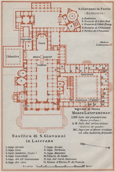 Associate Product Archbasilica St John Lateran Arcibasilica Papale San Giovanni Laterano 1909 map