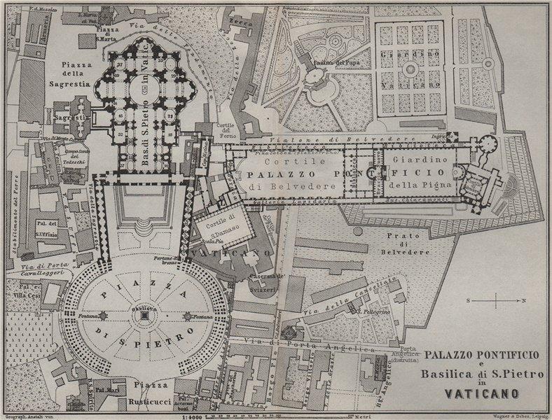 Associate Product St Peter's Vatican PALAZZO PONTIFICIO BASILICA S. PIETRO VATICANO Rome 1909 map