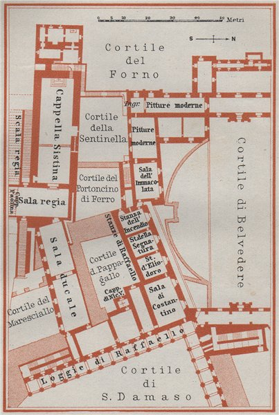 Associate Product VATICAN PALACE South wing Sistine Chapel Raphael's Loggia Stanze. SMALL 1909 map