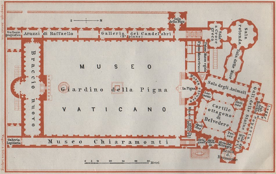 Associate Product VATICAN PALACE, North wing. Museum of Antiquities floor plan. Rome 1909 map
