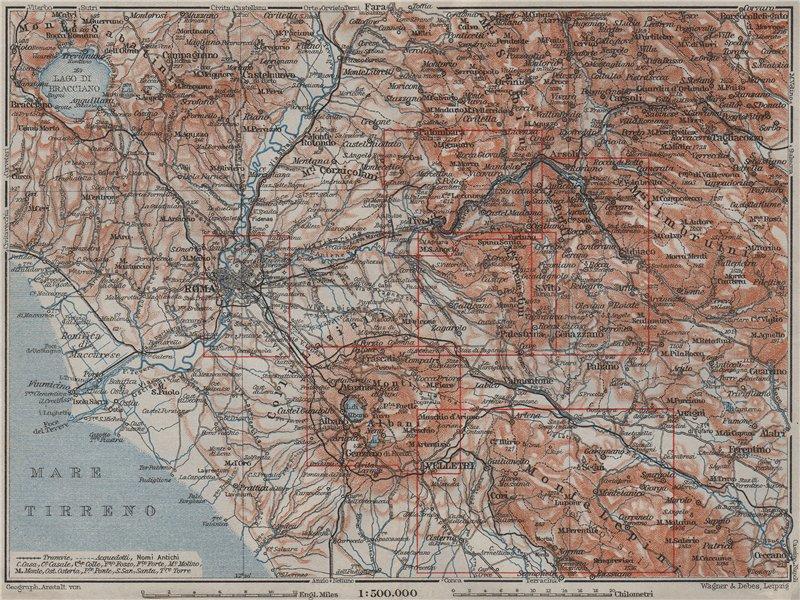 ROMA ROME environs key plan. Latium. topo-map mappa. BAEDEKER 1909 old