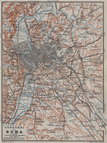 Associate Product ROME & ENVIRONS. CONTORNI DI ROMA. Roma mappa. BAEDEKER 1909 old antique