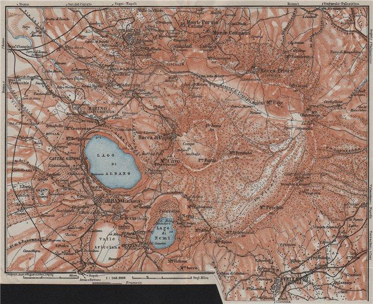 Associate Product THE ALBAN HILLS. Colli Albani. Monte Cavo. Topo-map. Frascati Velletri 1909