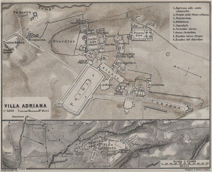 Associate Product HADRIAN'S VILLA at TIVOLI. VILLA ADRIANA. Ground plan. Italy mappa 1909