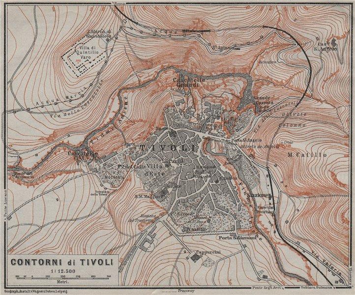 Associate Product TIVOLI & environs. Contorni di Tivoli. Italy mappa. BAEDEKER 1909 old