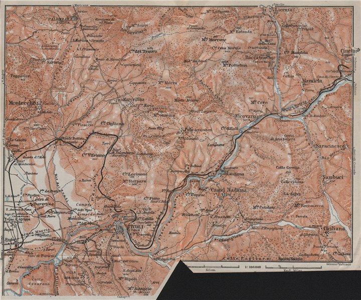 Associate Product SABINA. Tivoli Aniene/Teverone river Montcelio topo-map. Italy mappa 1909